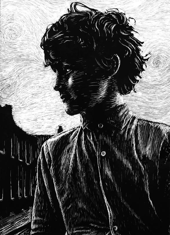 A black-&-white scratchboard illustration of a young boy with tousled hair glances aside, in front of a quiet city street, against a light swirling sky.