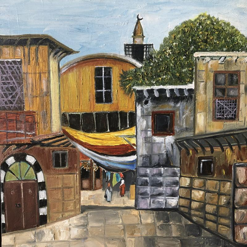A painting of old Damascus alley in Al- Qaimarryeh street.