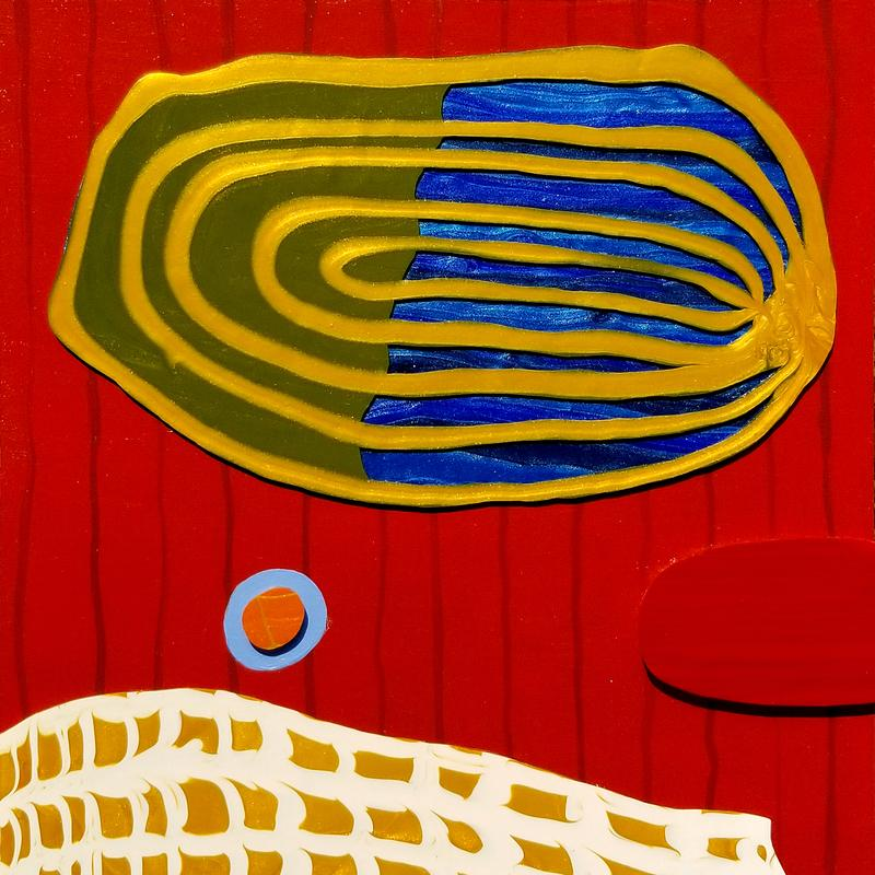A painting of a blue and green concentric ellipse floating in a red field over a white and gold earth like fragment.