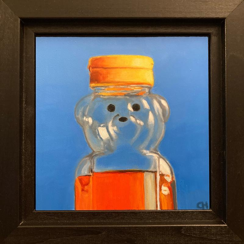 A painting of a plastic bear shaped honey container with a blue background.