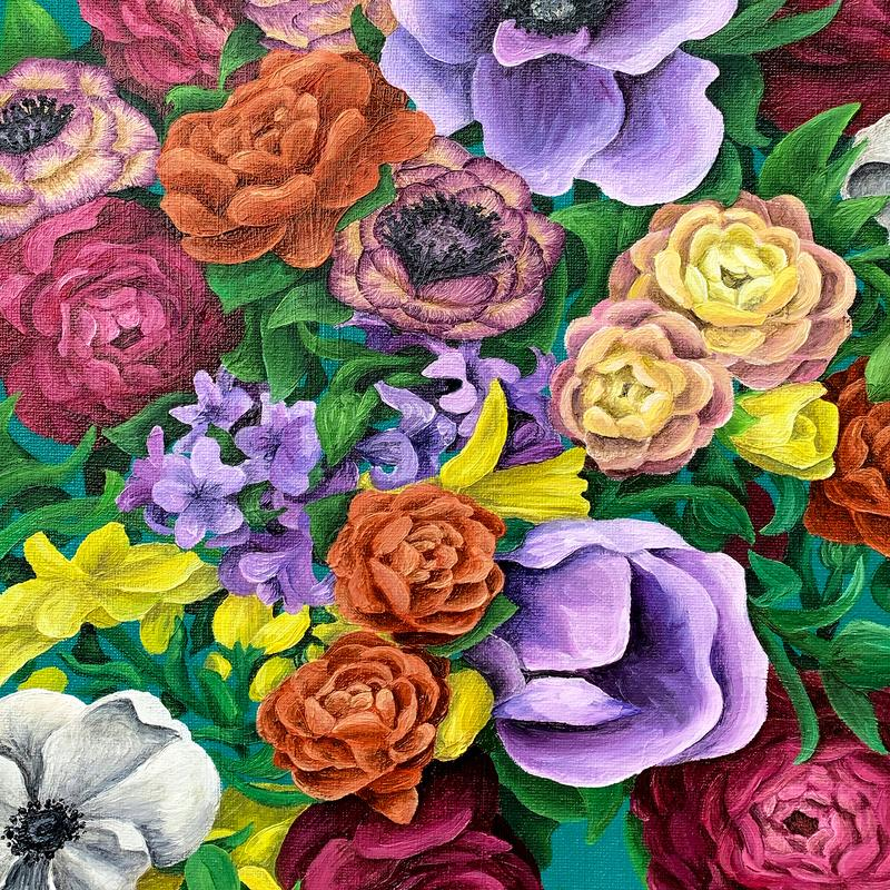 A painting of an explosion of flowers.  Studies have shown flowers have an immediate impact on happiness and provide long term positive effects on mood.  Everyone could use that in 2020.