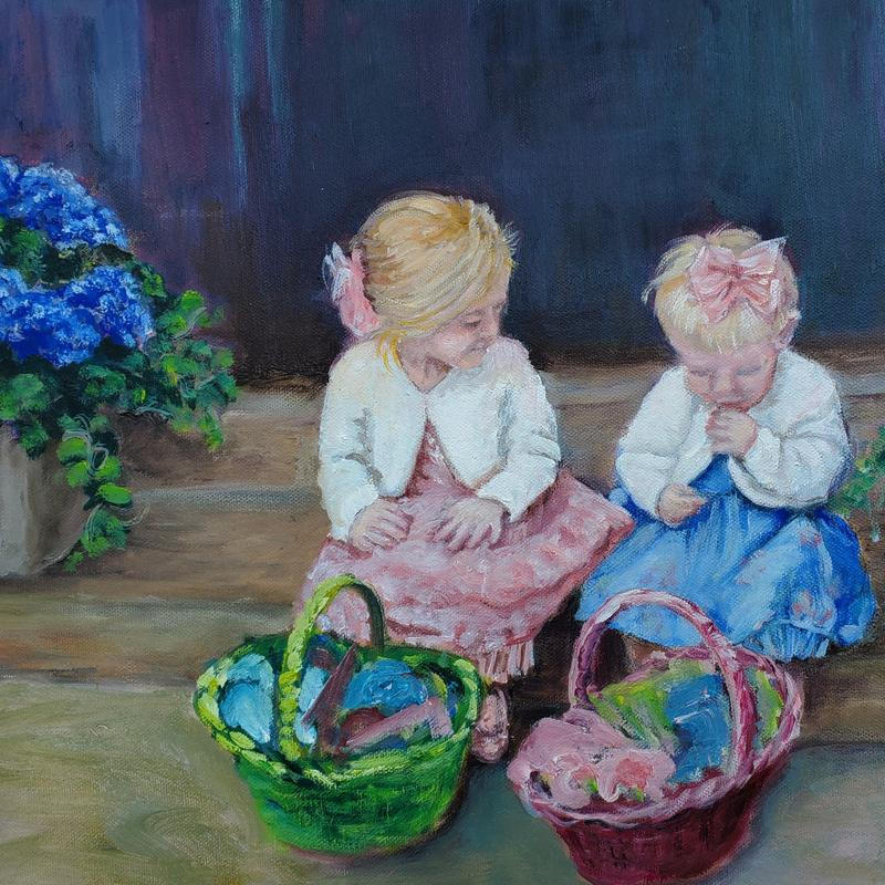 A painting of two young girls in their Easter dresses with Easter baskets next to blue hydrangea.