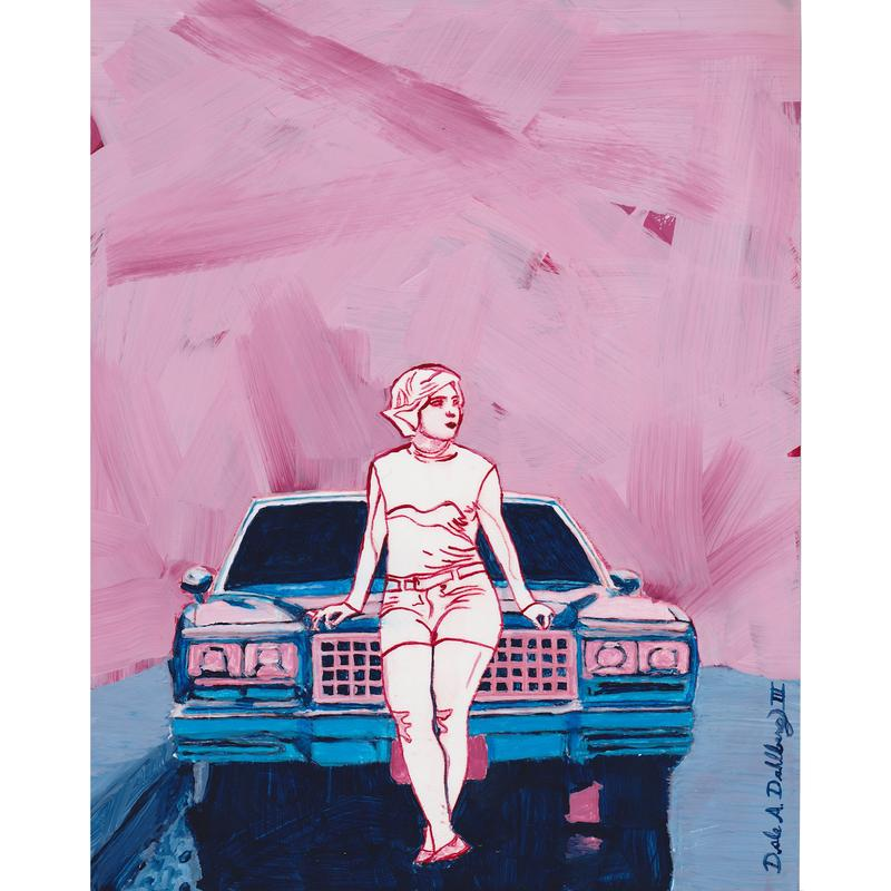 A woman leans against the grill of a car. She is outlined in crimson, but otherwise uncolored.  The rest of the painting is colored using pinks and blues.  The car is blue, with pink highlights.  The background is minimal, simply strokes of pink, while the road and sidewalk where the car is parked are colored blue.