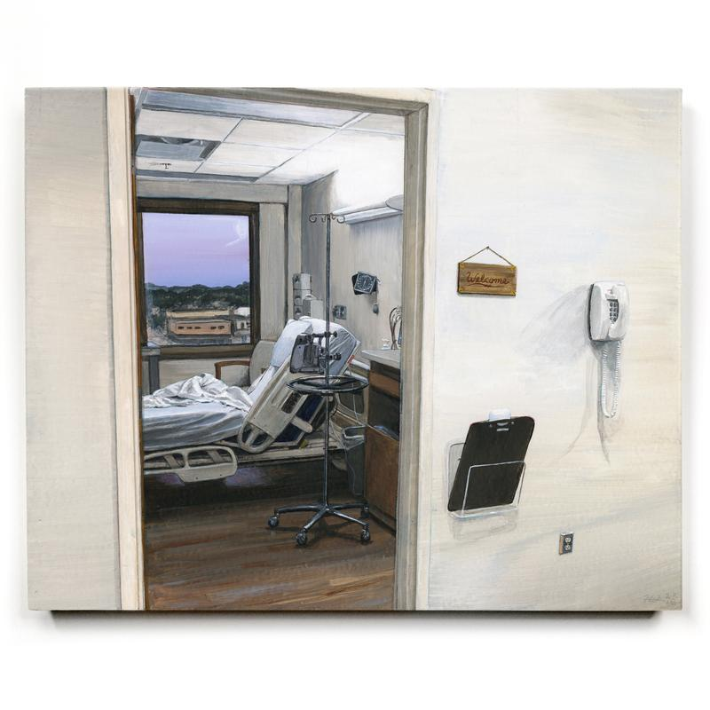 "A painting of a doorway, through which there is a hospital bed, a window showing a lavender sky at dusk, a bright light, an IV pole, and other small medical equipment. Next to the doorway, on the wall outside the room, there is a wooden sign reading: ""Welcome""."
