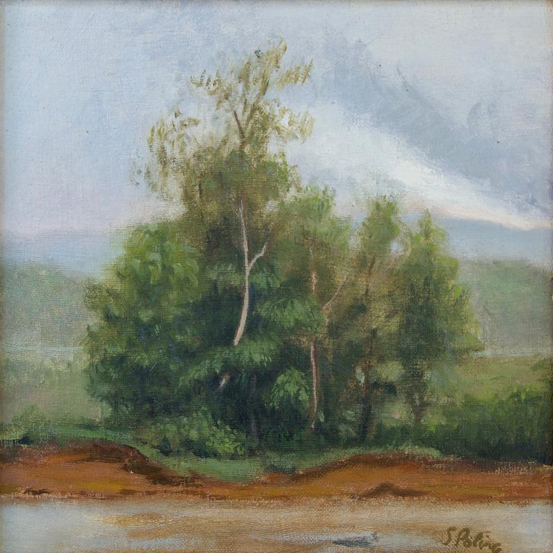 A painting of a group of dark trees growing on a river bank of red earth. It's an overcast gray-violet sky with one cloud growing white as the light is starting to break through.