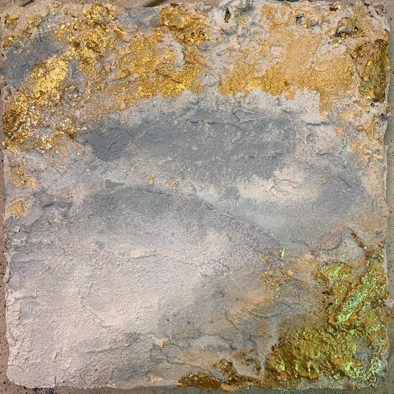 Highly textural paining: white, grey, gold concrete and acrylic