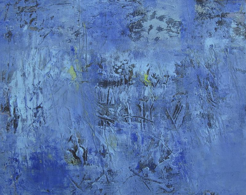 Abstract in deep blues, touches of light blue & black with texture.