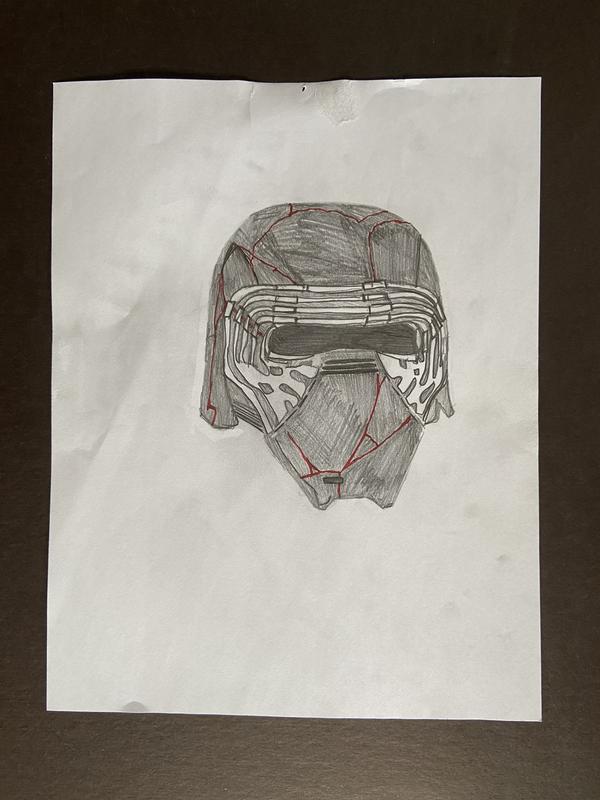 A portrait of Kylo Ren's mask