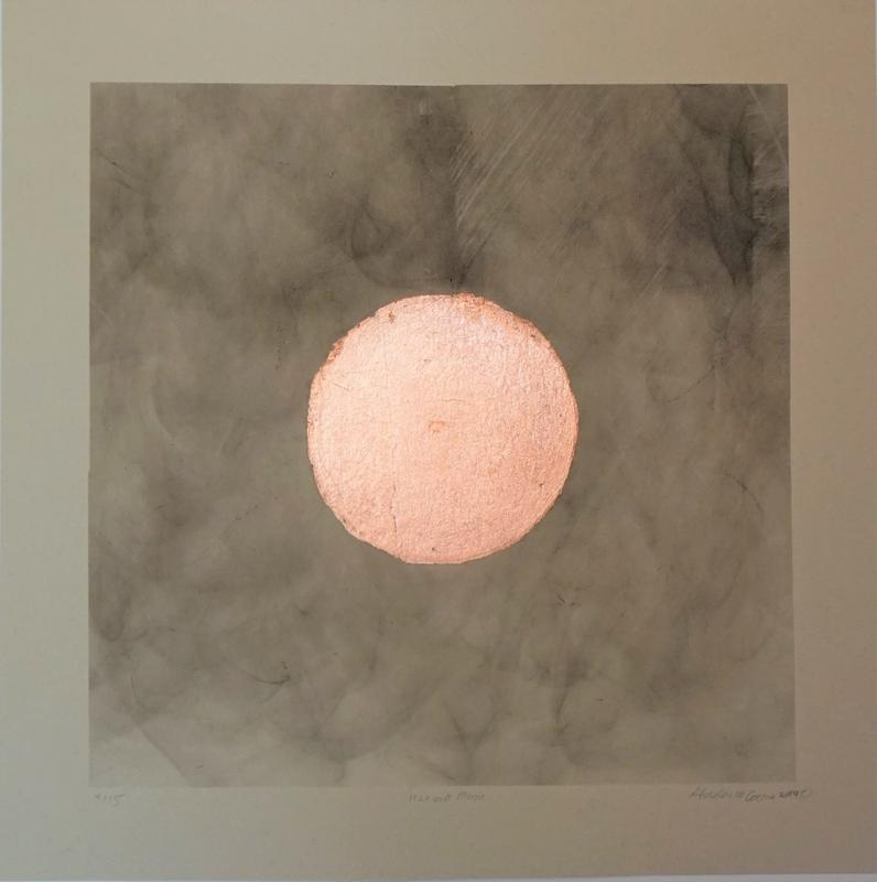 Print edition of 15,  cedar smoke fumes transferred to Annigoni paper, Copper leaf applied in a circle for the harvest moon.