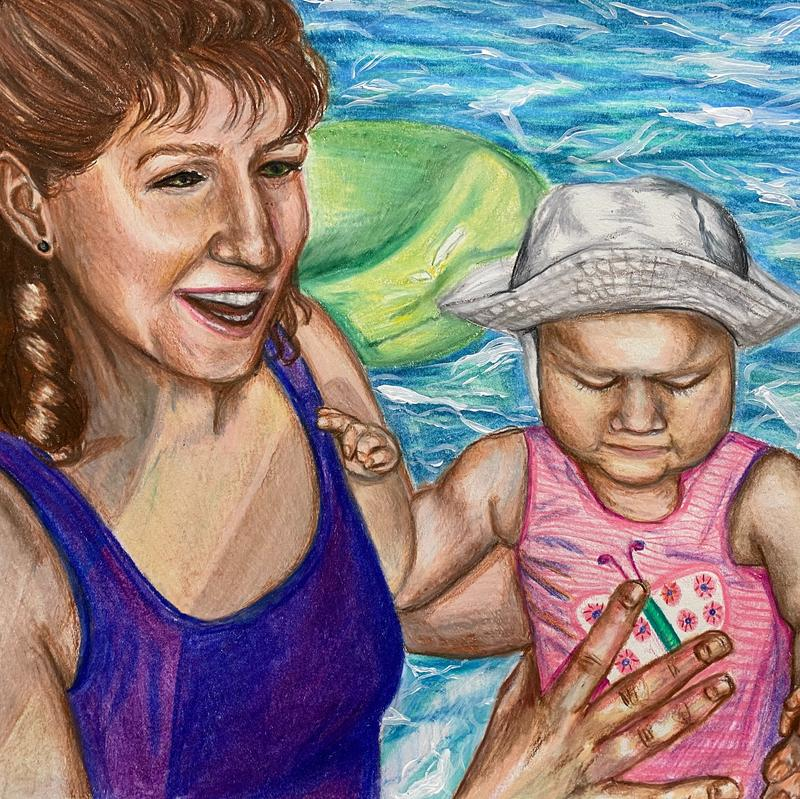A colored pencil drawing of a happy mother holding her baby while they are swimming in a pool.
