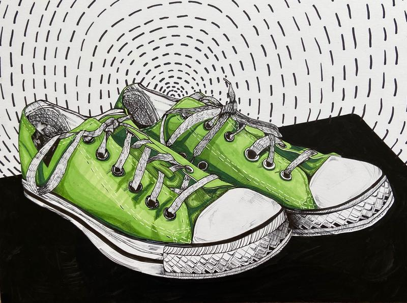 A drawing of a pair of beat-up green converse sitting on a black table with a dashed spiral pattern in the background.