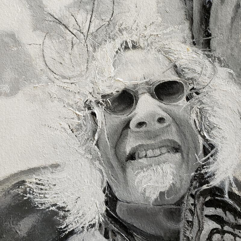 Black and white portrait view of self wearing sunglasses, painted impasto in bright sunlight with wind blown wild hair.