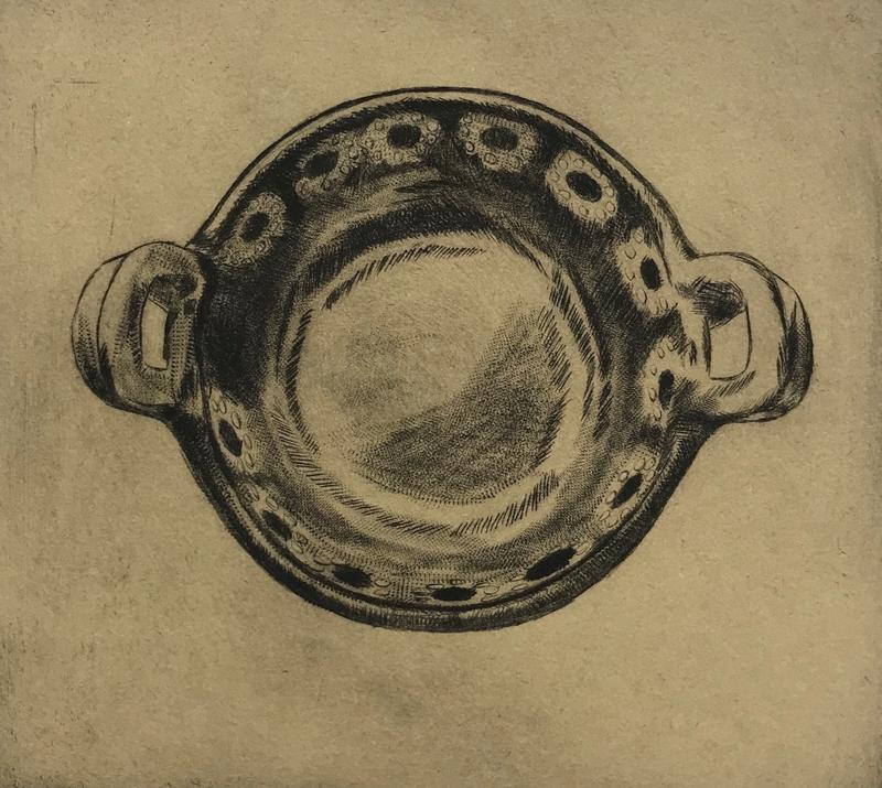A black drypoint etching on brown paper of a Mexican cazuela, a shallow clay cooking dish similar to a casserole, with a floral motif.