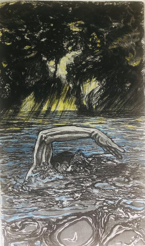 This intaglio print demonstrates persistence and resiliency in the face of great adversity. It is a rendering of a person strenuously swimming, slicing their arms through rough waves during a thunder storm. The sky is brooding with very dark, billowing clouds. Sharp yellow rays of sun pierce through the ominous clouds and glimmer on the water.  Scattered lightning shatters the sky and thunder can be heard .