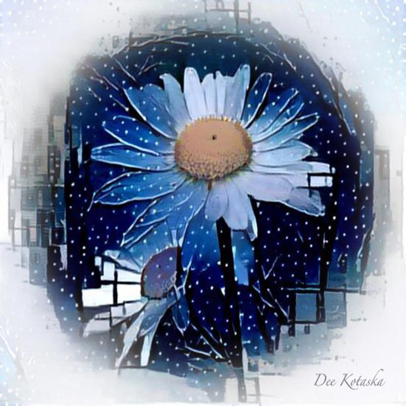 Two daisies in blue and white  with snowflakes falling around them.  Geometric shapes are on the outside of the circular shape.