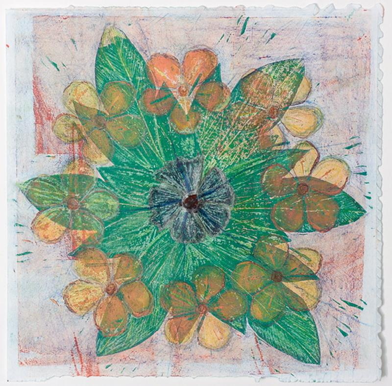 A woodblock/mixed media print of a flower mandala seen early morning on Phuket Island, six sets of leaves arranged with eight golden blossoms, and one deep blue blossom at the center, floating in a water barrel.