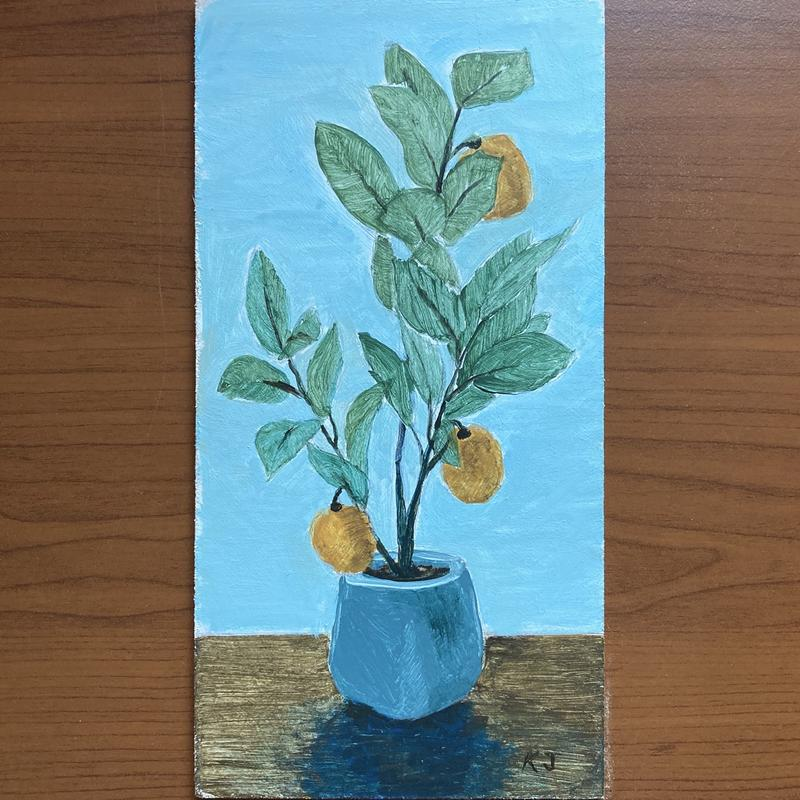 A still life painting of a small leafy plant in a blue pot with orange fruits adding a fun pop of color.