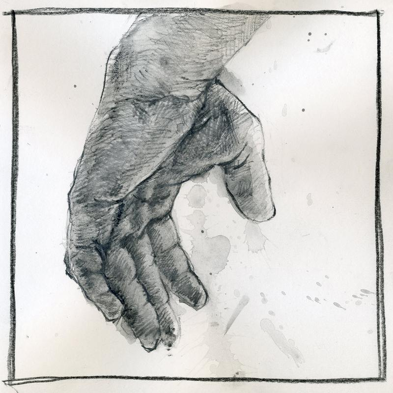 Graphite and wash drawing of a hand isolated against a plain background with graphite wash splatters.