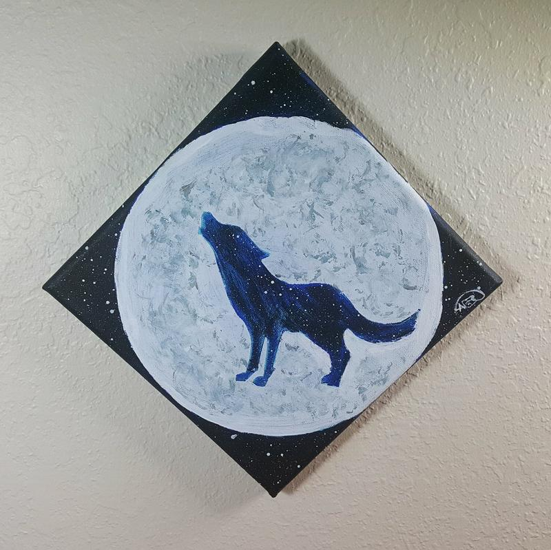 A painting of a moon, with a wolf made of stars standing in the middle of it howling.