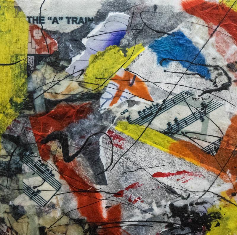 Abstract collage featuring torn shapes from photos and bright colored papers (reds, yellows, blues), music score fragments, and drips of black paint