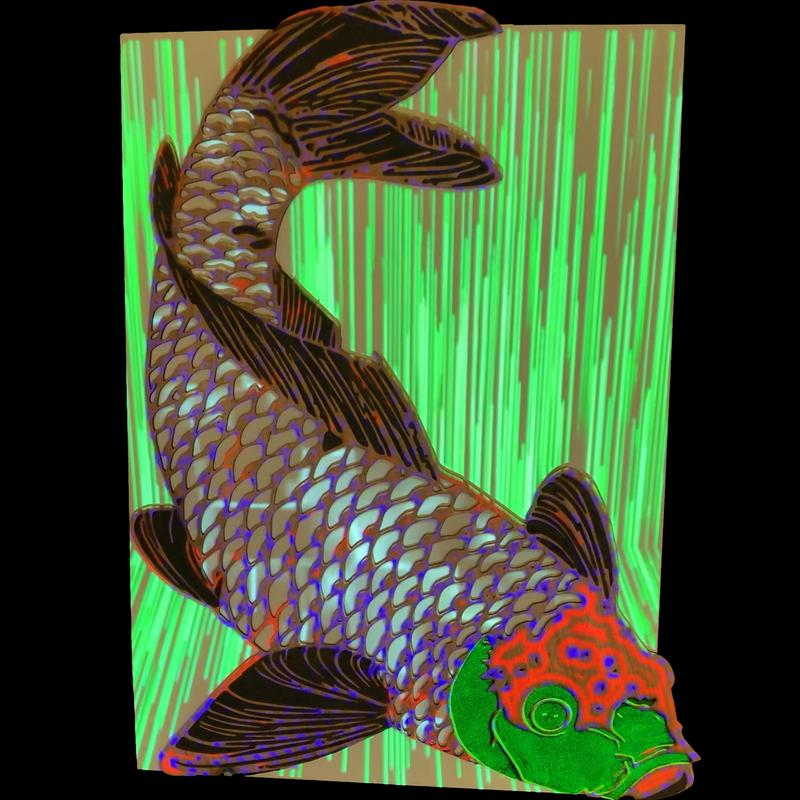 Scales of the Koi fish are cut out the fins and head is etched in relief. There are separate color sequences projected in the scales and on each separate section of the fishshape and outside