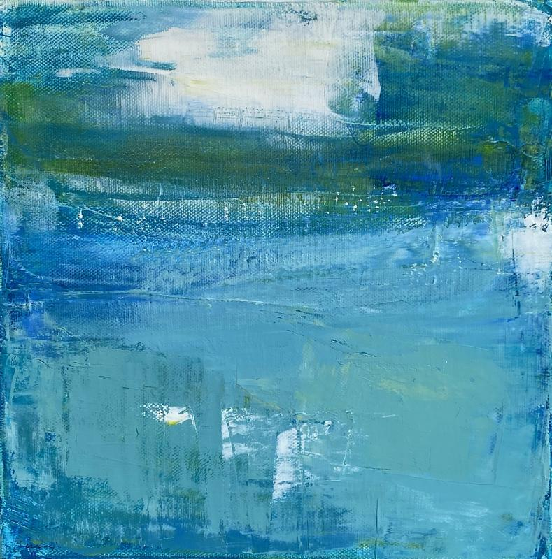Abstract painting of water with serene blue hues and white highlights filling 3/4 of surface, soft green horizon and cloud shape.