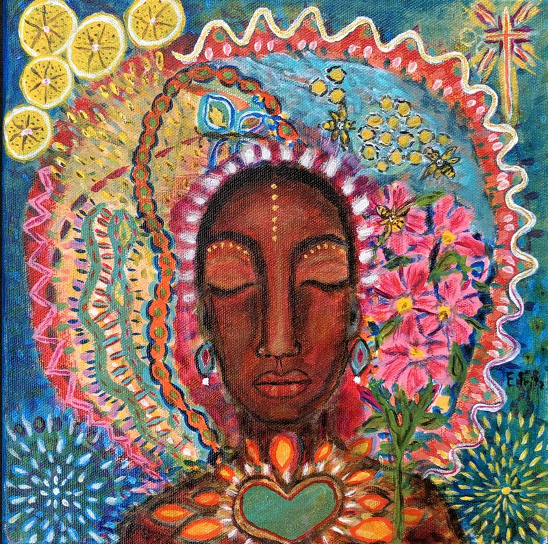 """""""A meditative painting of a woman's face with colorful images of flowers, bees, DNA strands, lemons, stars, and a healing heart surrounding her image."""