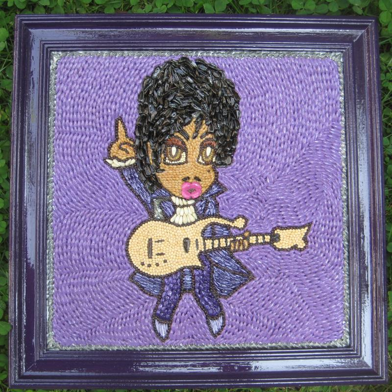 Prince done with Minnesota crop seeds painted in vivid shades of purple. Originally submitted to the MN State Fair Crop Art Competition. Based on a cartoon image of Prince by Japanese artist, Kazuo Takeda. Seeds used include Alsike clover • Barley • Buckwheat • Canola • Flax and Golden Flax • Millet • Oat • Onion • Rye • Safflower • Trefoil • Sunflower • Yellow Blossom Sweet Clover • Wheat • Wild Rice