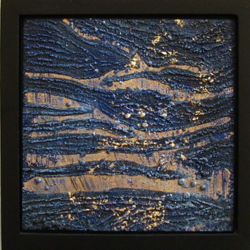 Dark blue textured wavy ground with gold leaf overlay