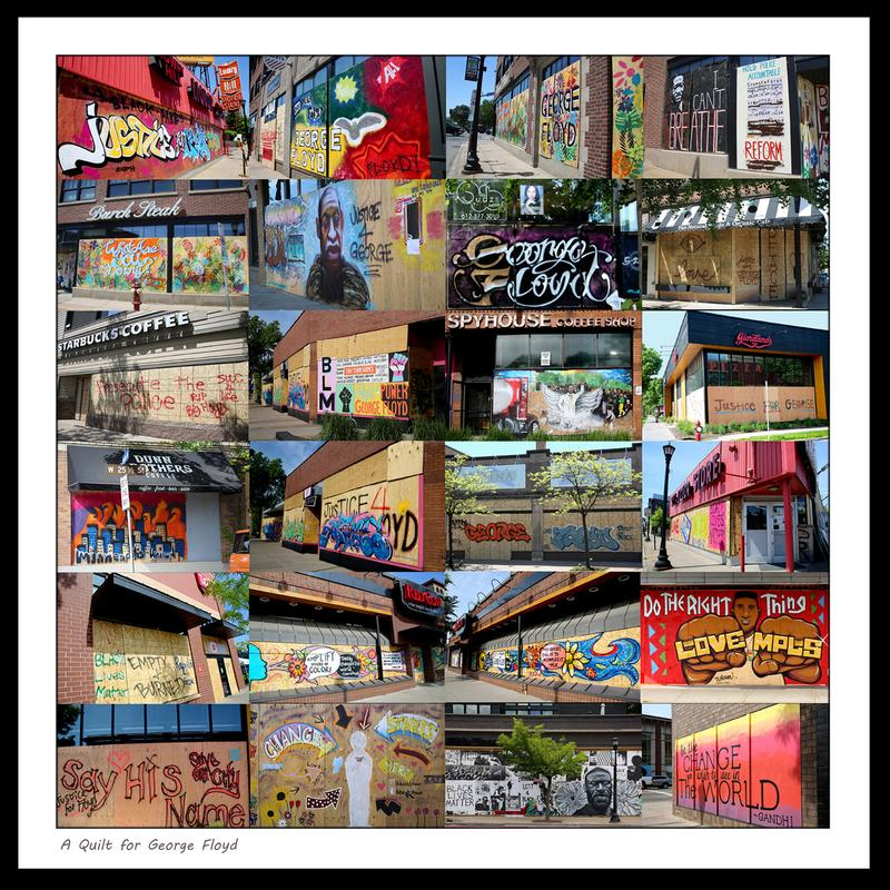 A photo collage of graffiti-painted boarded-up windows on Hennepin Avenue South in Minneapolis, my neighborhood.