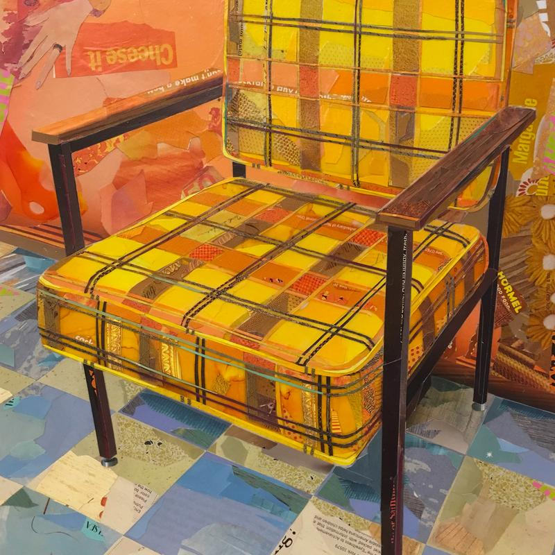 A brightly colored collage of an old golden yellow and orange armchair.