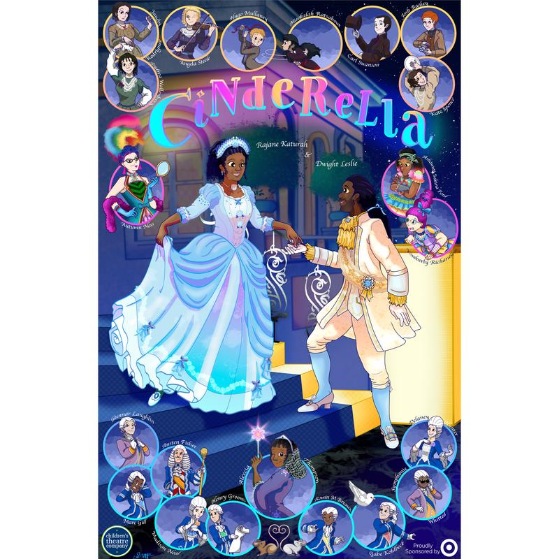 A digital painting of the cast from the Children's Theatre Company 2019 production of Cinderella. The two leads, Rajane Katurah and Dwight Leslie, stand on a set of ornate stairs with the rest of the cast around them.