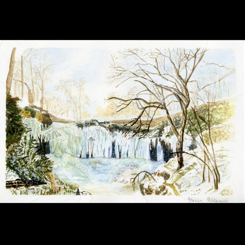 A painting of an icy blue waterfall frozen over in the winter. The ice is peeking out from behind barren brown trees and ever-green bushes while a dusting of snow coats the ground. A cloudy light-gray sky hangs overhead.