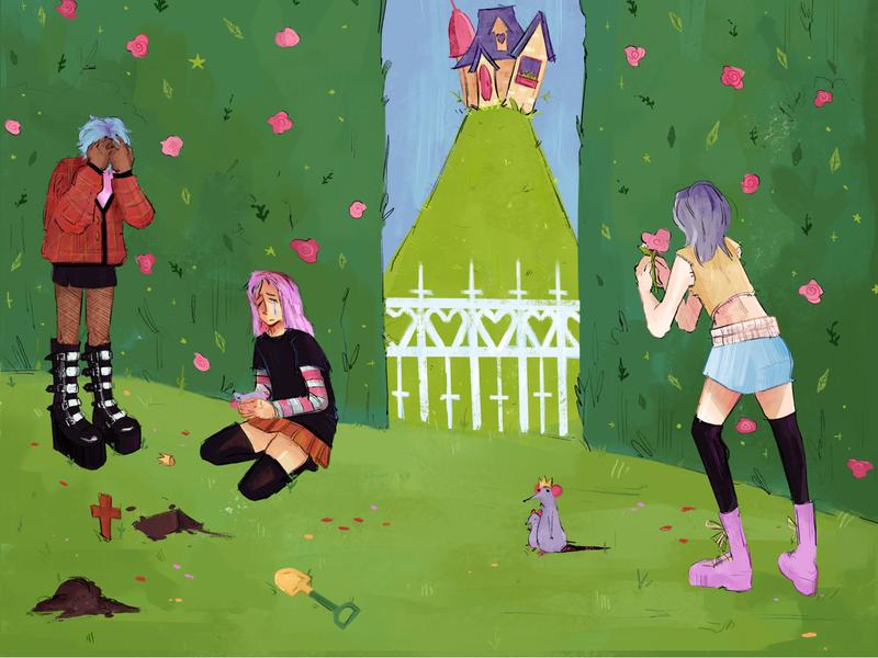 A digital painting of three girls on a slanted hill burying a purple rat, in the background, there is a shrub wall littered with flowers, a white picket fence, and another hill that is comically narrow with a mansion squished on top.