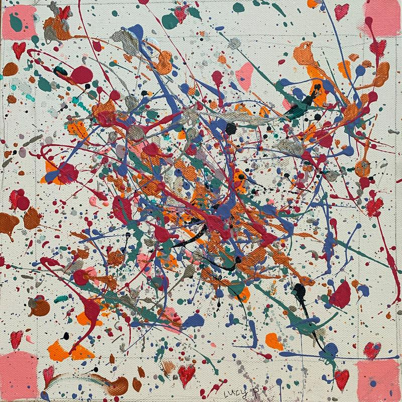 Splatter is a study of color and negative white space. The corners are framed with pink squares and hearts, while the center of the painting fills with color in a lively explosion of warm tones and metallics.