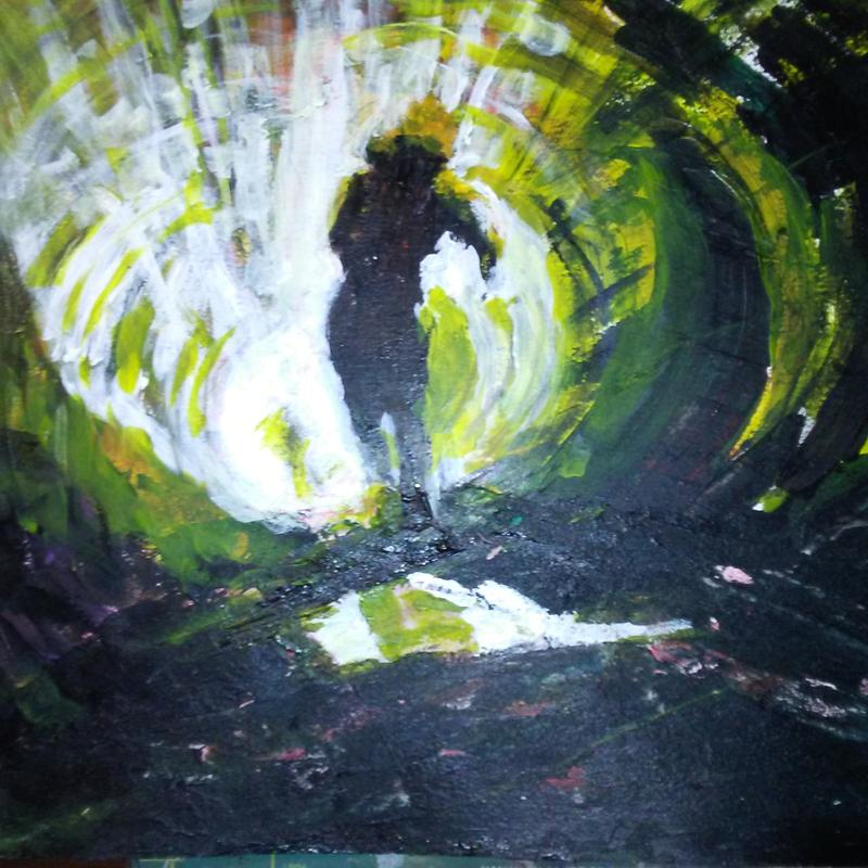 A barely lit tunnel with a dark silhouette of a woman running. Colors: shades of green, black, and some white and yellow.