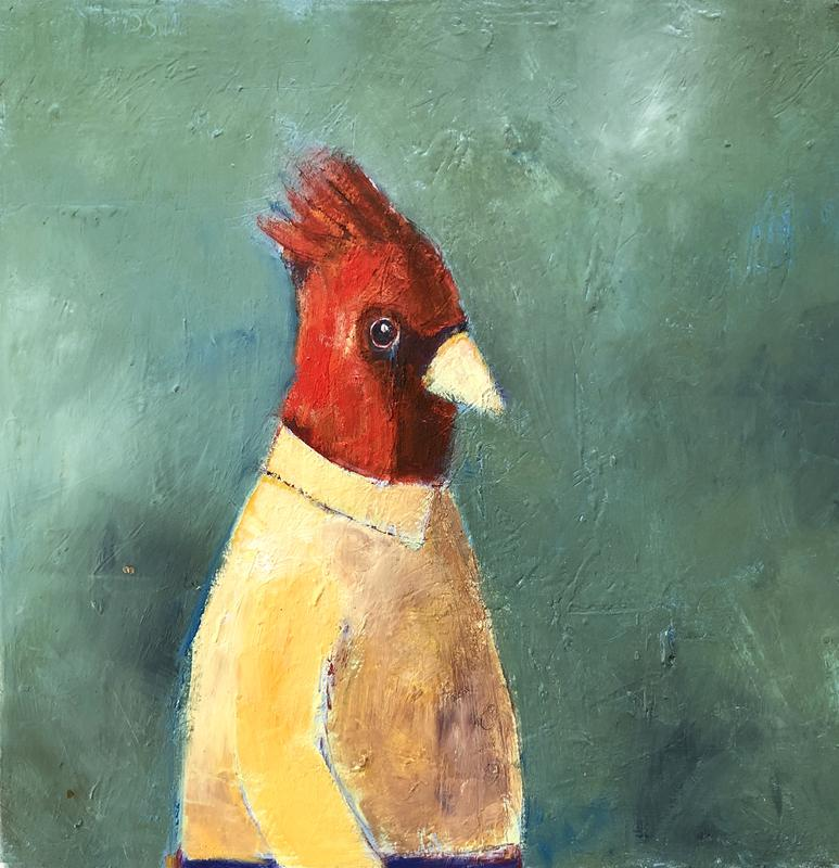 This painting is from my imagination of a bird that turned into a person!