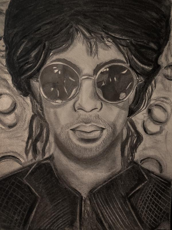 A black and white drawn portrait of Prince during his Sign O The Times era. Prince is wearing large circle glasses and a textured looking suit.