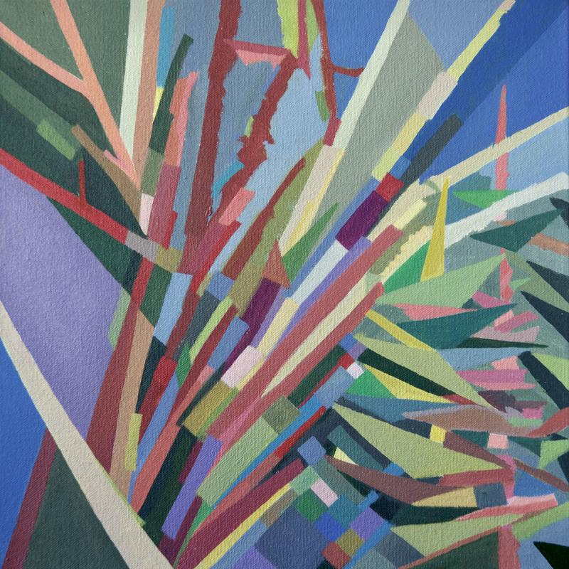 The painting Trees is a colorful geometric abstraction of a tree top view including deciduous and coniferous branches serving as window panes looking out to a purple, blue, green and grey sky.