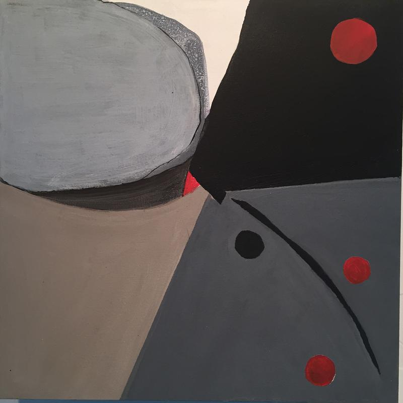 Geometric abstract using colors black, red, gray using circular figures to express distancing in 2020.