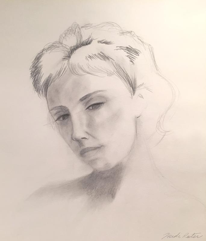 A graphite portrait of a woman's face, head tilted to the side, eyes gazing downward in thought.