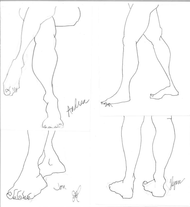 Four drawings of the lower extremities of four different life-drawing models. Each drawing occupies a quarter section of the composition. The graphite lines indicated volume and manipulation of proportion.
