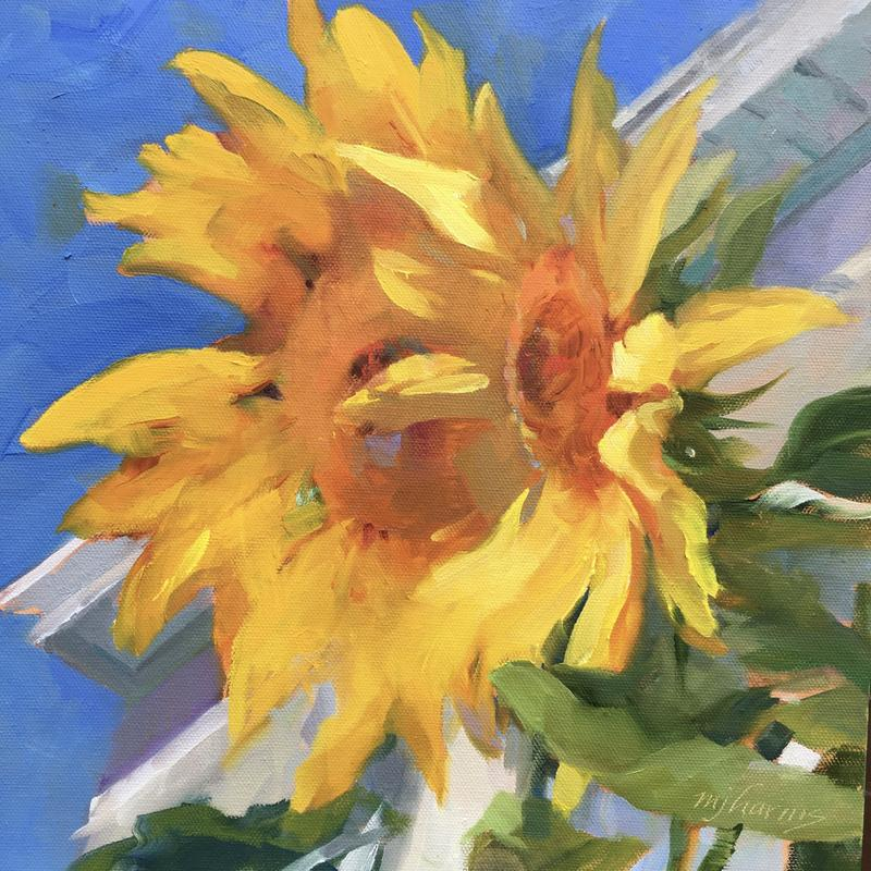 An oil painting created en plein air Of group of sunflowers. It is an Impressionistic work.