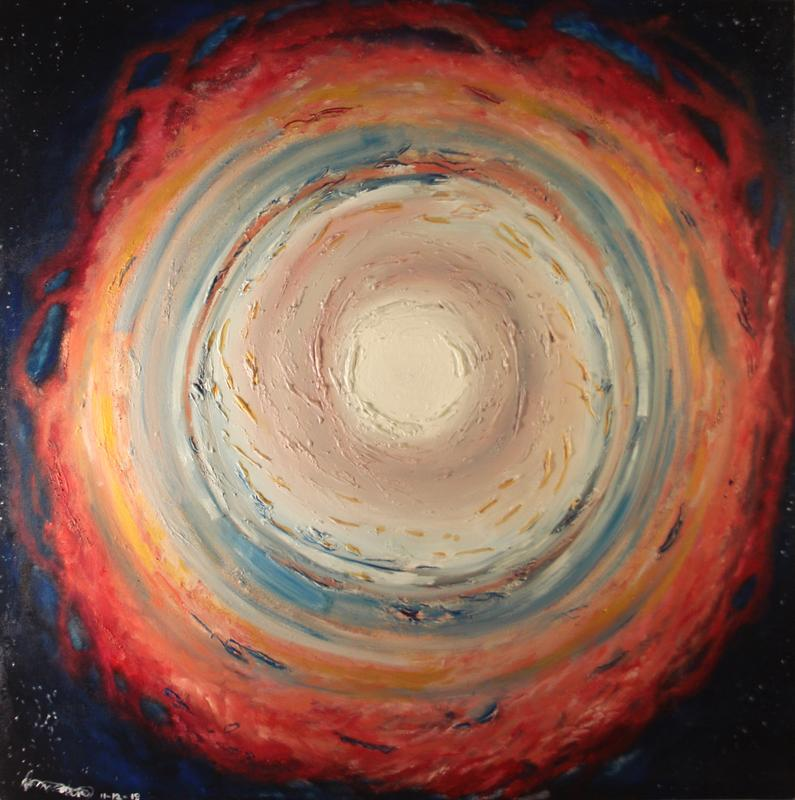 A square multicolored impasto painting of spiral receding towards the center of the frame.