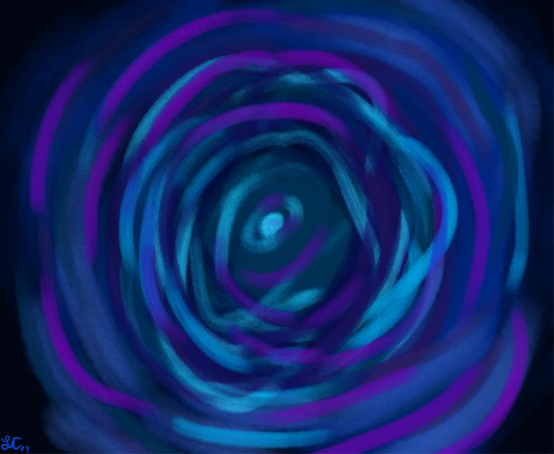 A vortex of cool toned colors: like pale blues and Rich purples