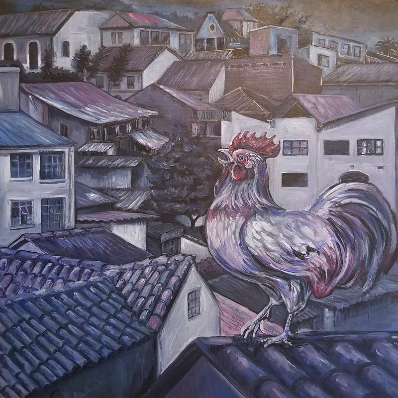 A painting of a rooster crowing in the early morning from a rooftop in the La Candelaria neighborhood of Bogota.