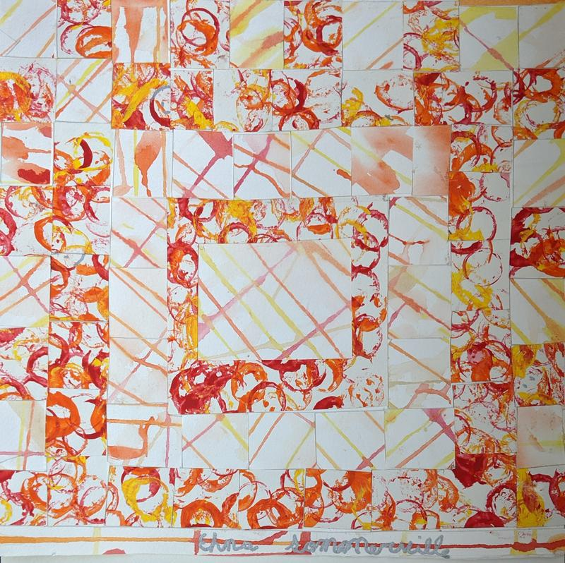 A mixed media painting depicting a quilt in autumn colors of orange and yellow, its individual squares composed of alternating drip lines and circles created by blown paint.