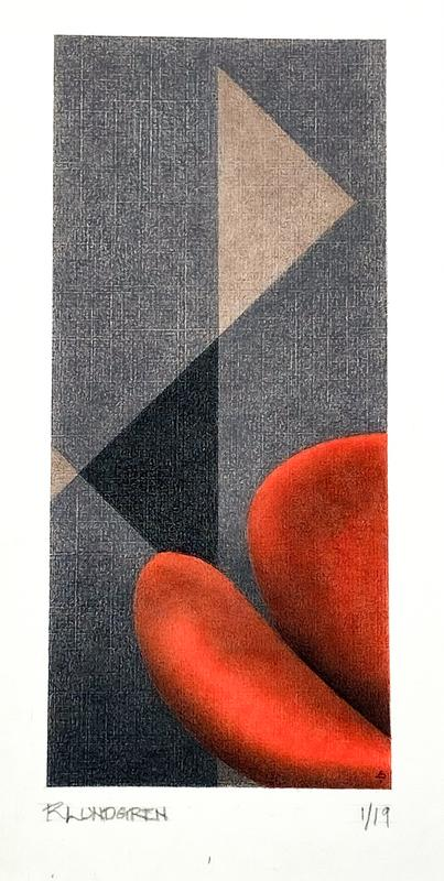 Rectangular colored pencil drawing with long dimension vertical. An abstraction with brilliant red globular shapes at lower right corner on a warm grey background of triangular shapes in different shades.