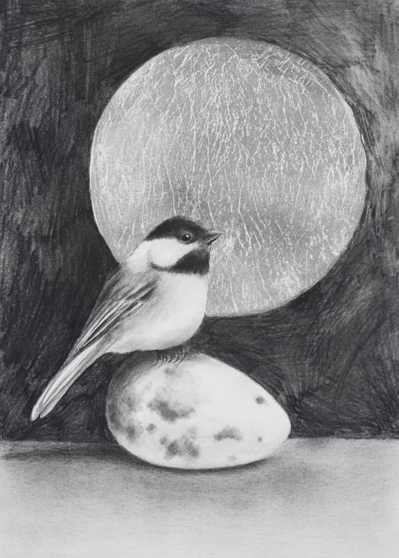 A graphite drawing of an interior space with a Black-capped Chickadee sitting on a Common Murre's egg.  The background is dark except for a large circle of metallic silver, which resembles the moon, behind the bird's head.