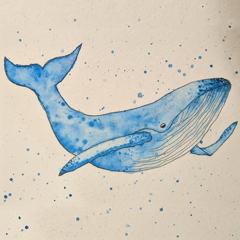 A watercolor painting of a blue whale with speckles surrounding it to depict the ocean.